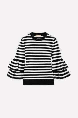 Michael Kors Ruffled Striped Cashmere-blend Sweater - Black