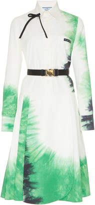 Prada Belted Tie-Dye Poplin Dress Size: 38
