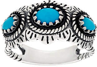 American West Sleeping Beauty Turquoise Sterl.3 Stone Ring