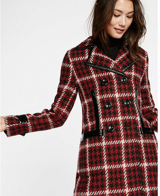 Express patent leather trim houndstooth peacoat $198 thestylecure.com