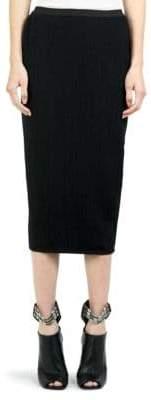Rick Owens Stretch Grosgrain Pencil Skirt