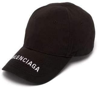 Balenciaga Logo Embroidered Cotton Cap - Womens - Black
