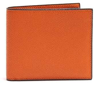 Valextra Bi Fold Grained Leather Wallet - Mens - Orange