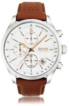 BOSS Hugo Polished stainless-steel sportswatch white dial & perforated leather strap One Size Assorted-Pre-Pack