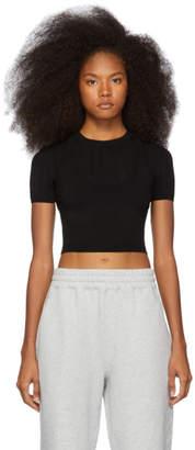 Alexander Wang Black Mesh Stripe Bi-Layer T-Shirt