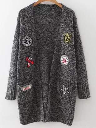 Shein Mixed Patch Marled Knit Long Cardigan With Pockets
