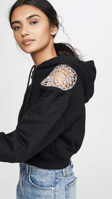 Area French Terry Hoodie with Crystal Doily Shoulder Inset