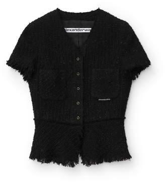 Alexander Wang Alexanderwang short sleeve frayed tweed jacket
