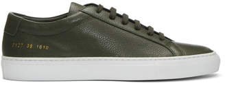 Common Projects Green and White Original Achilles Low Premium Sneakers