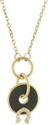 Foundrae Green Horseshoe Disk Necklace - Yellow Gold