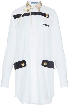 Prada Embellished Cotton-Poplin Shirt Dress Size: 36