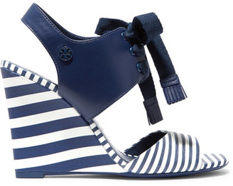 Tory Burch - Maritime Lace-up Striped Leather Wedge Sandals - Navy $295 thestylecure.com