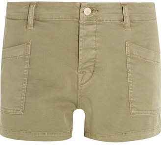 J Brand - Brona Cotton-blend Twill Shorts - Army green $180 thestylecure.com