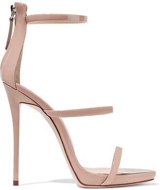 Giuseppe Zanotti - Harmony Patent-leather Sandals - Blush $845 thestylecure.com