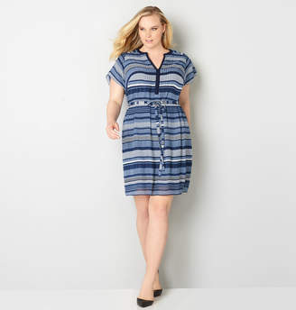 Avenue Variegated Stripe Pleated Dress