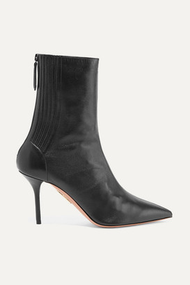 Aquazzura Saint Honoré 85 Leather Sock Boots - Black