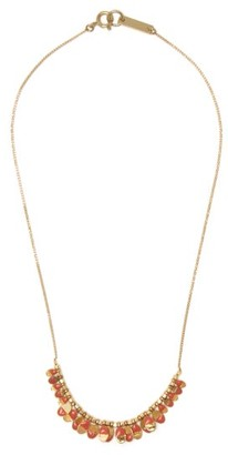 Isabel Marant Leaves Enamel And Metal Necklace - Womens - Pink