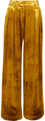 Mother of Pearl Pleated Velvet Wide-leg Pants - Gold