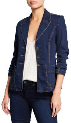 Nanette Lepore Rain Forest Button-Front Denim Blazer