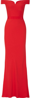 Alexander McQueen - Off-the-shoulder Crepe Gown - Red $3,175 thestylecure.com