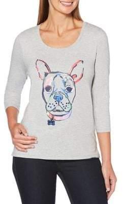 Rafaella Heathered Dog Art Graphic Tee
