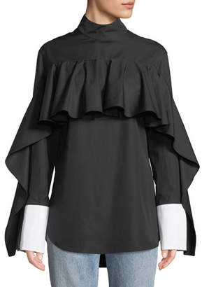 Monographie Button-Back Ruffle Long-Sleeve Shirt