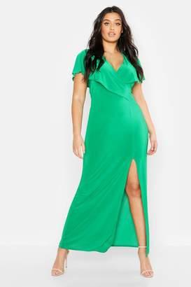 boohoo Plus Wrap Front Maxi Dress
