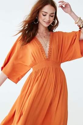 Forever 21 Crochet Lace-Trim Maxi Dress
