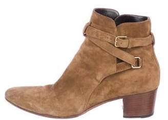 Saint Laurent Suede Round-Toe Ankle Boots Tan Suede Round-Toe Ankle Boots