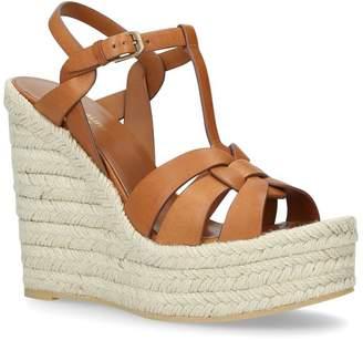 273e3d0ab8b Saint Laurent Leather Espadrilles Wedge Sandals 95