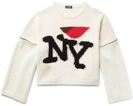 Raf Simons I Heart Ny Oversized Intarsia Wool Sweater