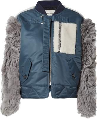 Sandy Liang Shell And Shearling-paneled Bomber Jacket