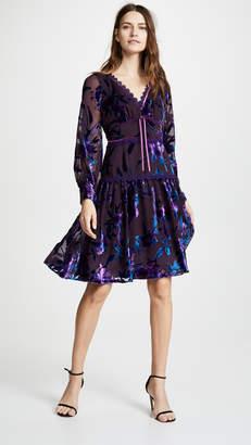 Marchesa Bishop Sleeve Cocktail Dress