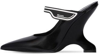 Prada 110mm Logo Strap Brushed Leather Mules