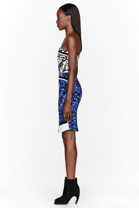 Peter Pilotto Blue patterned Paloma Bustier Dress