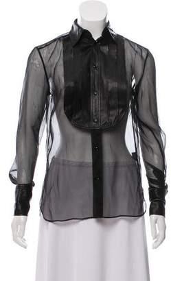 Ralph Lauren Women's Black Irene Silk Leather Tuxedo Shirt w/ Tags