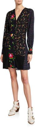 McQ Floral Patchwork Mini Boudoir Dress