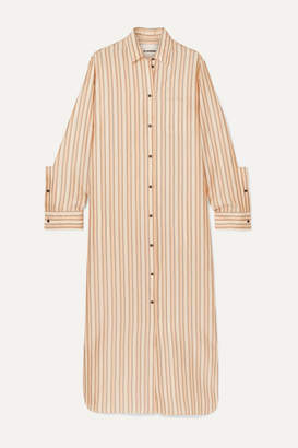 Jil Sander Striped Twill Maxi Dress - Orange