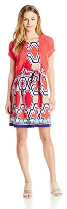 Robbie Bee Women's Petite Printed Prada Jacket Dress with Coral Shrug