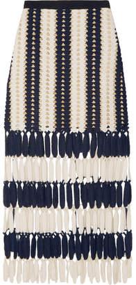 Self-Portrait - Striped Crochet-knit Midi Skirt - Navy $285 thestylecure.com