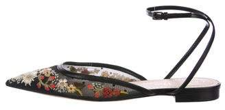 Christian Dior Embroidered Wrap-Around Flats