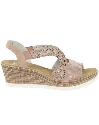 4ae94d689 at Fashion World · Rieker Real Madrid Alabama Womens Wedge Heel Sandals