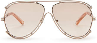 Chloé CE121S Rose Gold-Tone Aviator Sunglasses