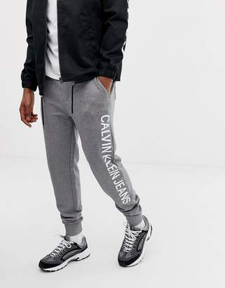 Calvin Klein Jeans institutional side logo sweatpants gray