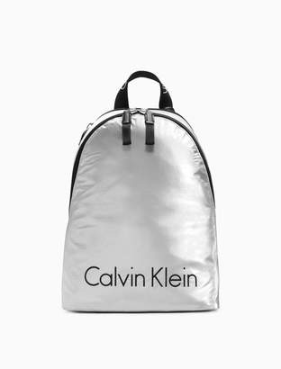 Calvin Klein metallic logo nylon city backpack