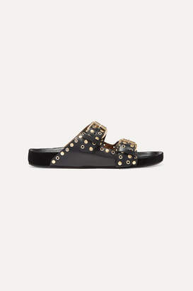 Isabel Marant Lennyo Studded Leather Slides - Black