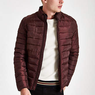River Island Only and Sons burgundy puffer jacket