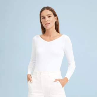 Everlane The Pima Micro Rib Open V-Neck