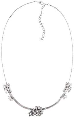 Halo & Co Crystal Cluster And Star Chain Necklace In Oxidised Silver Tone