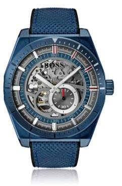 BOSS Hugo Skeleton watch blue case & leather-lined fabric strap One Size Assorted-Pre-Pack